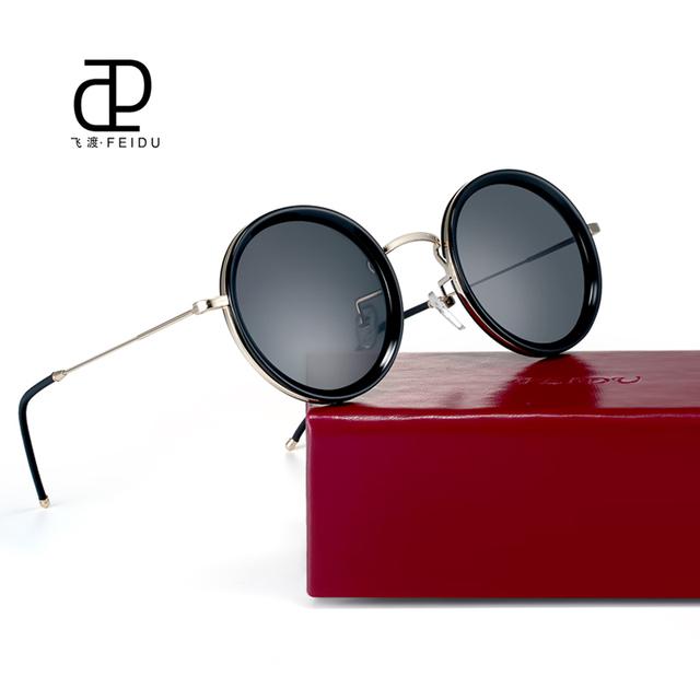 Feidu 2016 moda rodada polarizada óculos de sol dos homens designer de marca retro steampunk óculos de sol das mulheres do vintage óculos de sol oculos de sol