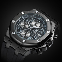 Brand New Men Watch Quartz Watch Black Rubber Band 3ATM Water Resistant Quartz Wrist Watch