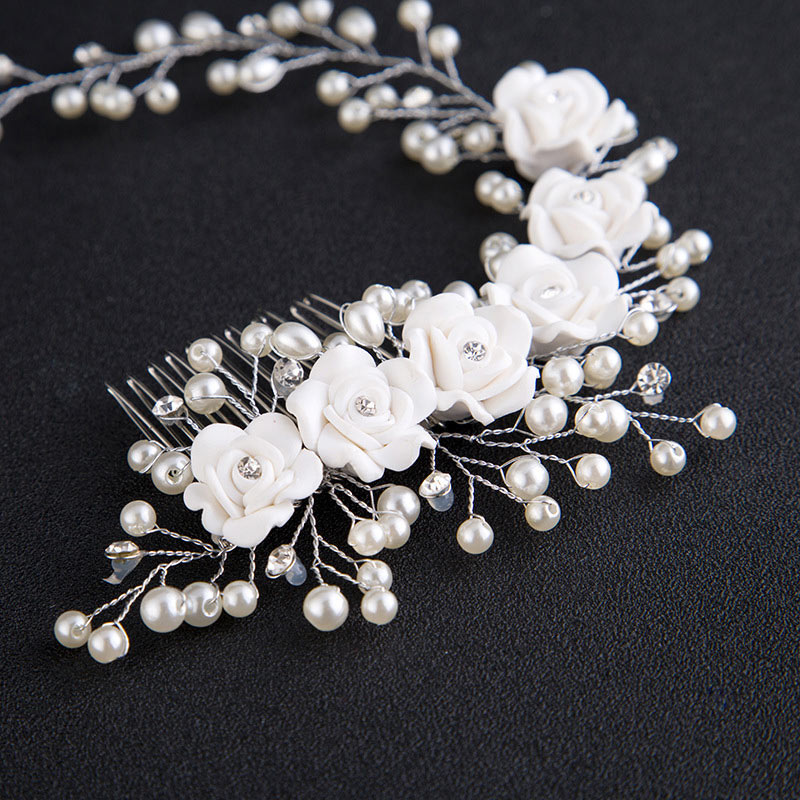 Fashion Korean Women Hair Comb Bride Wedding Hair Clip Handmade Flowers Beads Decoration Ladies Hairs Accessories LL@17(China)