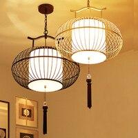 Chinese Style Iron Restaurant Hotel Antique Pendant Lamp Iron Cage Cage Lamp Retro Creative Restaurant Birdcage