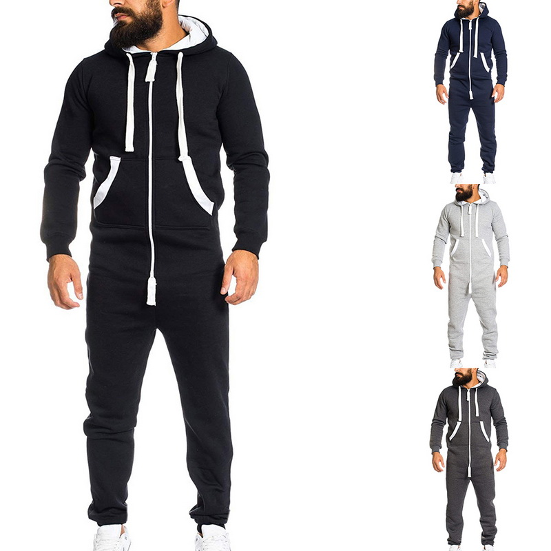 c624d5d2784 Laamei 2018 Casual Tracksuit Jumpsuit Men s Overalls Long Sleeve  Sweatshirts Hoodies Casual Long Pants Romper For Male Overalls-in Overalls  from Men s ...