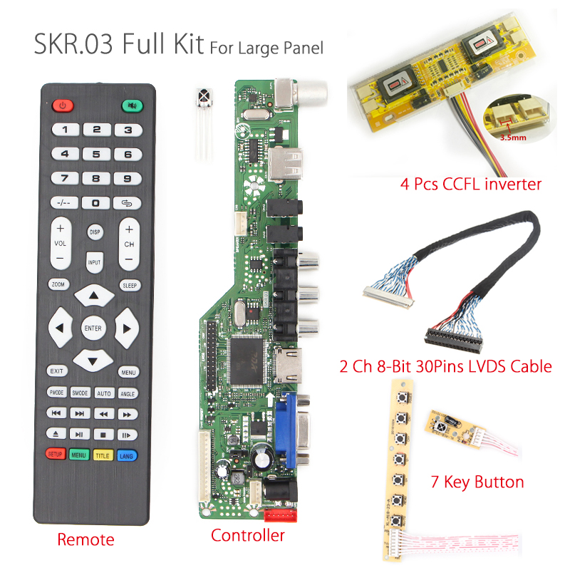 SKR.03 Universal LCD/LED Controller Driver Board TV/AV/VGA/HDMI/USB+IR+7 Key button+4 lamp inverter+lvds cable for large panel