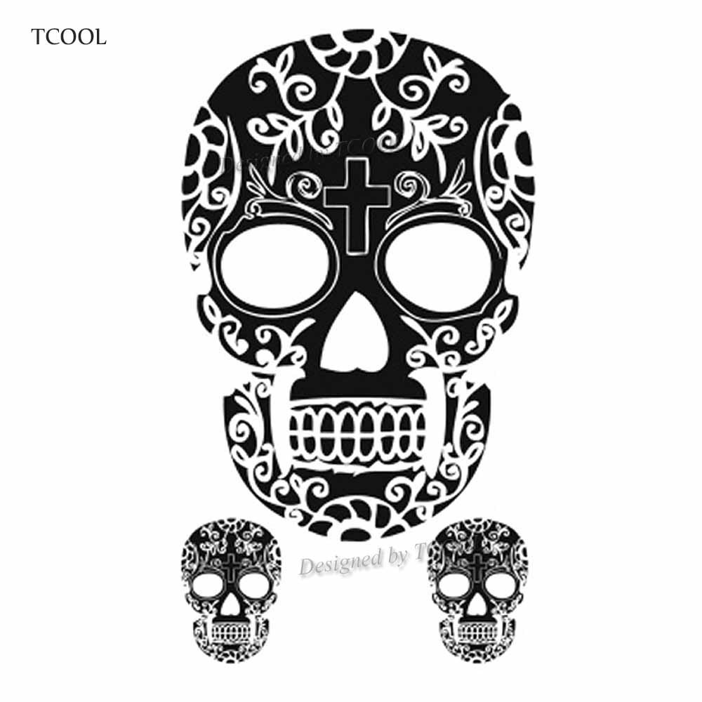 HXMAN Skull Temporary Tattoos Sticker Waterproof Women Men Fashion Fake Arm Body Art 10.5X6cm Children Hand Tatoo Paper B-014