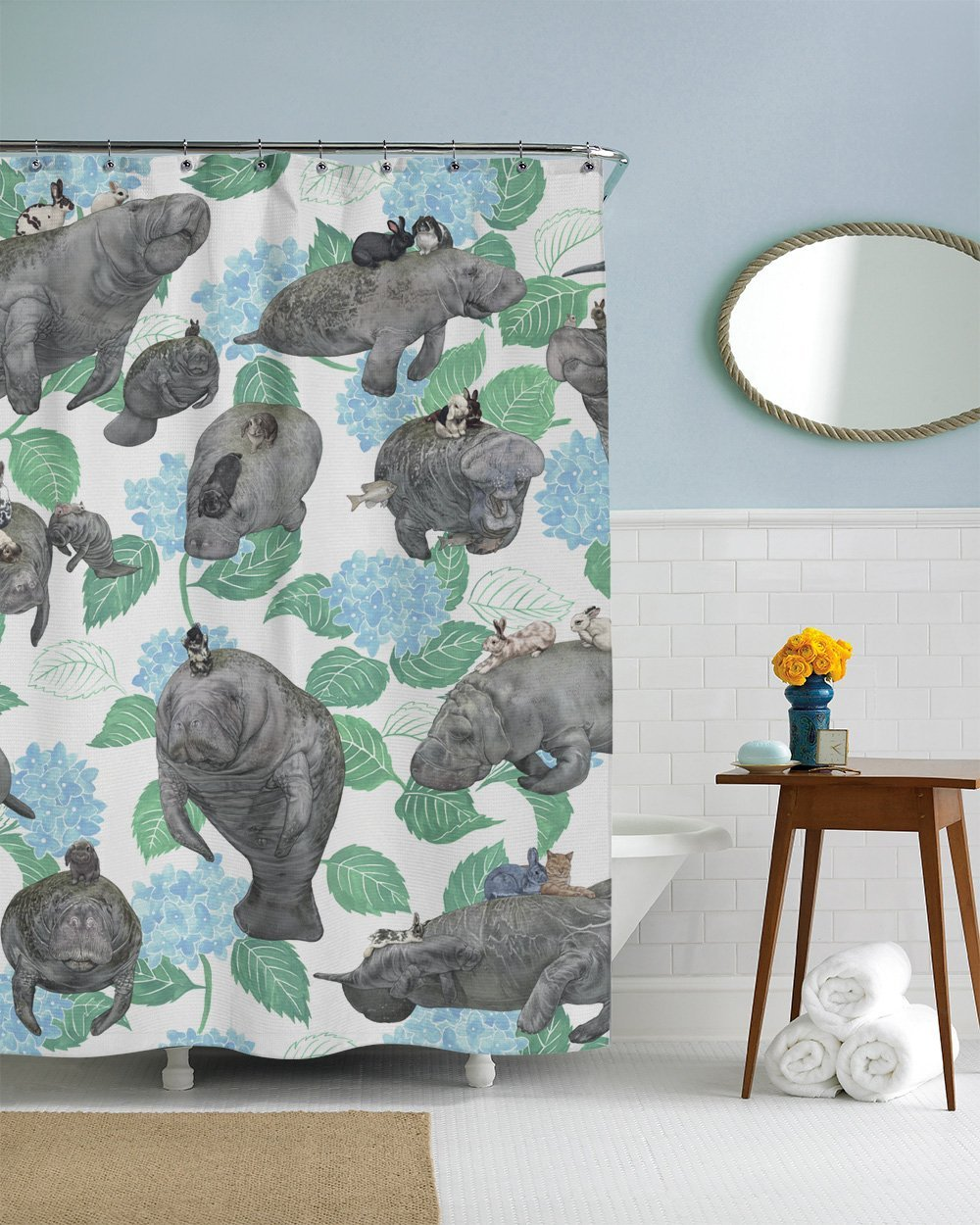 Rabbits Riding Manatees Fabric Shower Curtain Boho Chic Art 75 Inches Long  12 Hooks Included In Shower Curtains From Home U0026 Garden On Aliexpress.com  ...