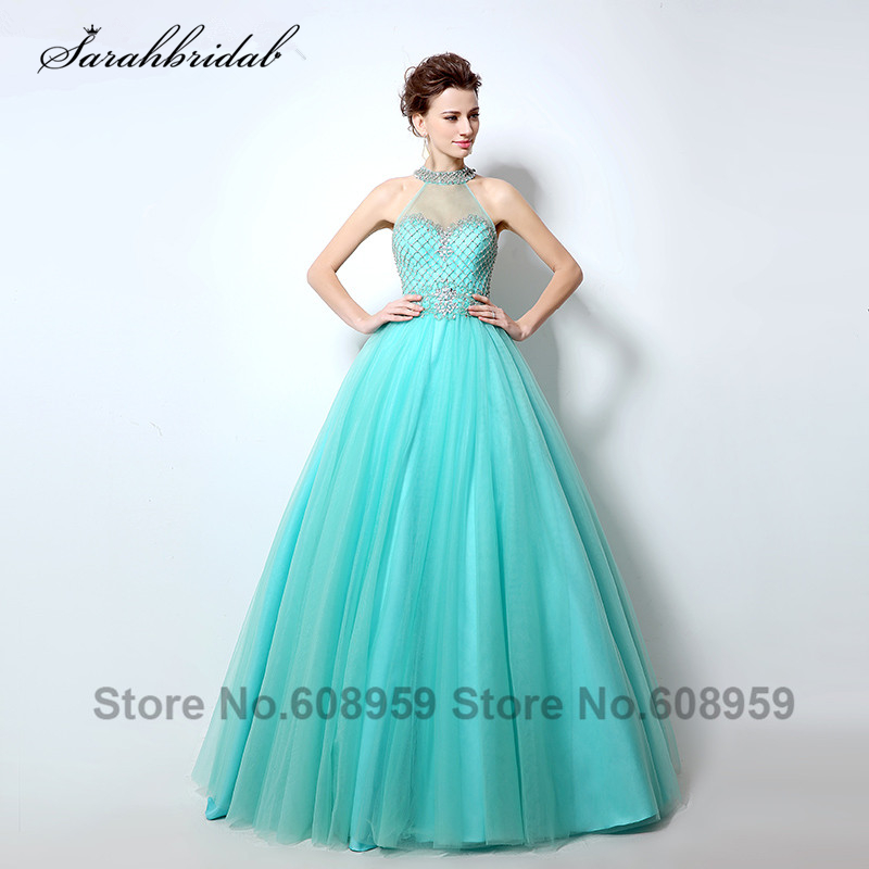 Sexy Sheer High Neck   Prom     Dresses   Cut Back Rhinestones Crystal Beaded Aqua Long Evening Gowns Vestido De Festa Longo LSX010