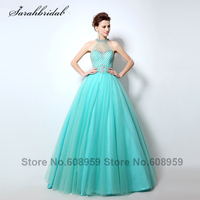 Sexy Sheer High Neck Prom Dresses Cut Back Rhinestones Crystal Beaded Aqua Long Evening Gowns Vestido De Festa Longo LSX010