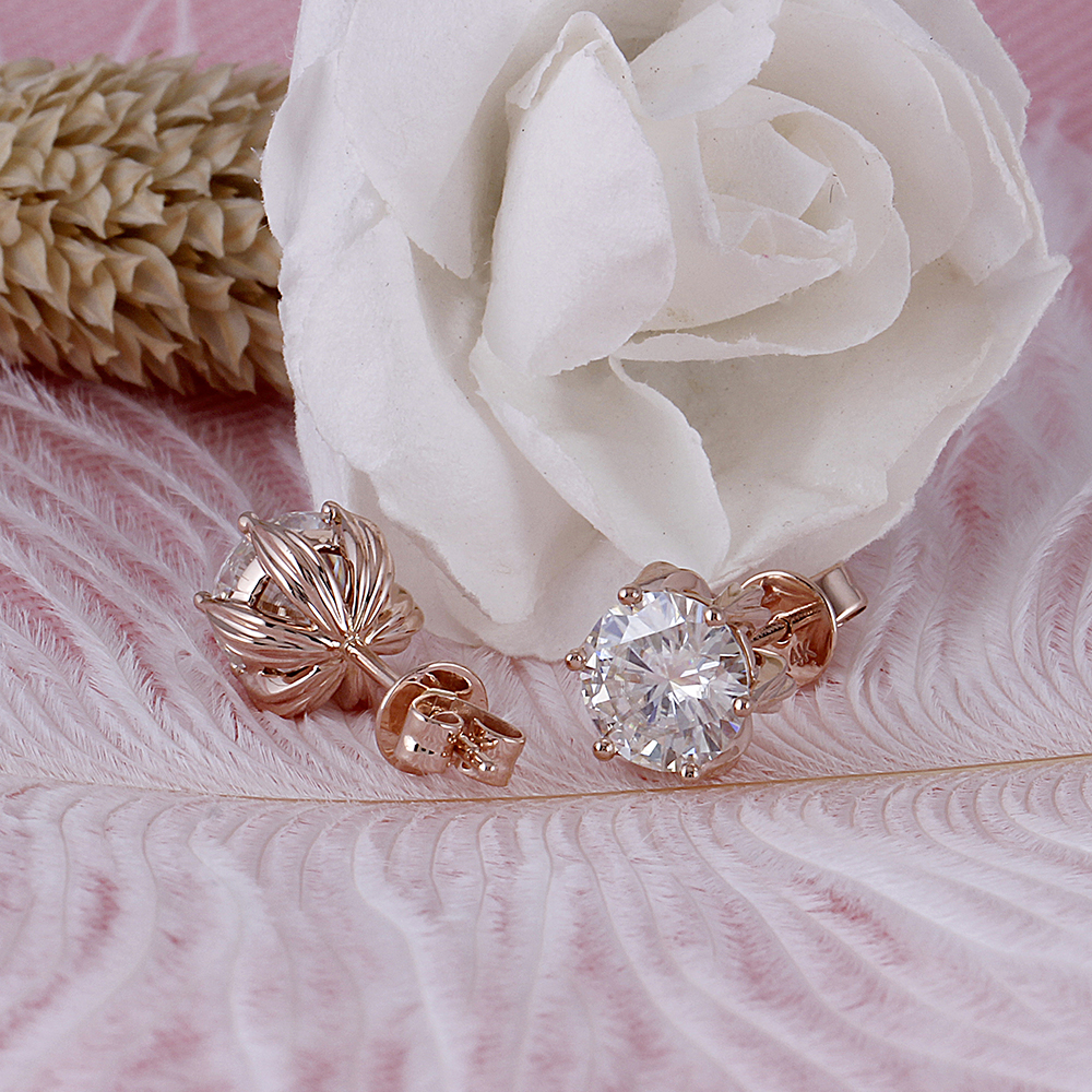 moissanite earrigns rose gold (3)