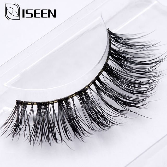 ISEEN 1 Pair Nature False Eyelashes 100% 3D Mink Full Strip False Eyelash Long Eyelashes Mink Lashes Extension False Eyelashes