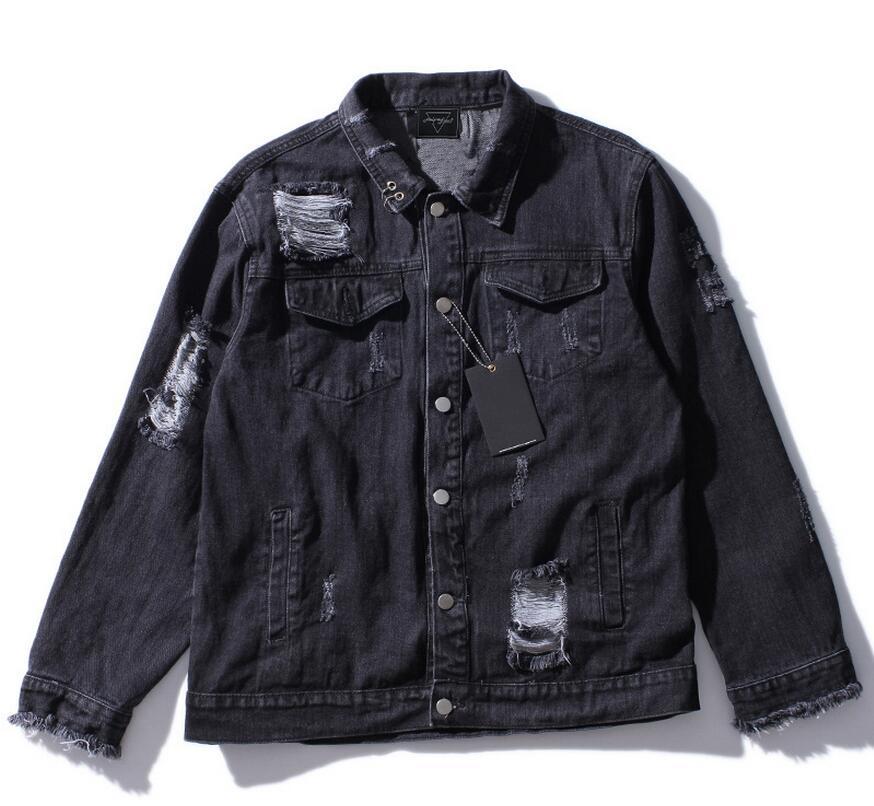Negro Diseños Moda Parche ¿viejo Calaveras Streetwear Locomotora Abrigos 2019 Hombres Punk Chaquetas Agujeros Chaqueta Imprimir Rpq0t4n
