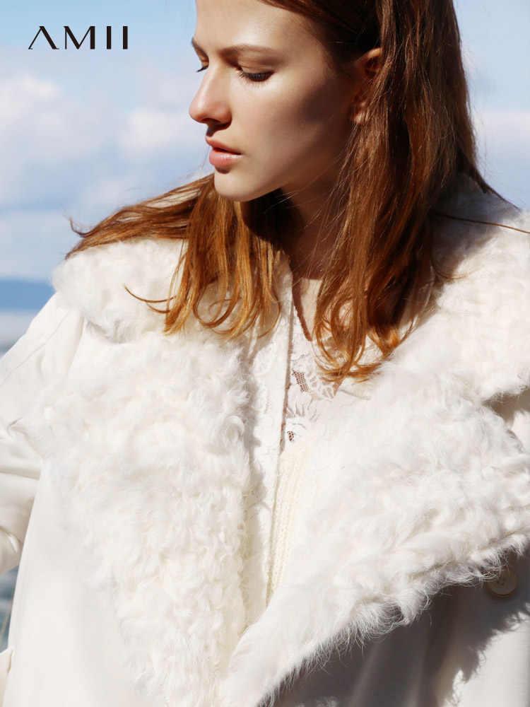 Amii ミニマリストロングダウンジャケットの女性の冬 2018 因果固体厚いウール襟付きホワイトダックダウンコート