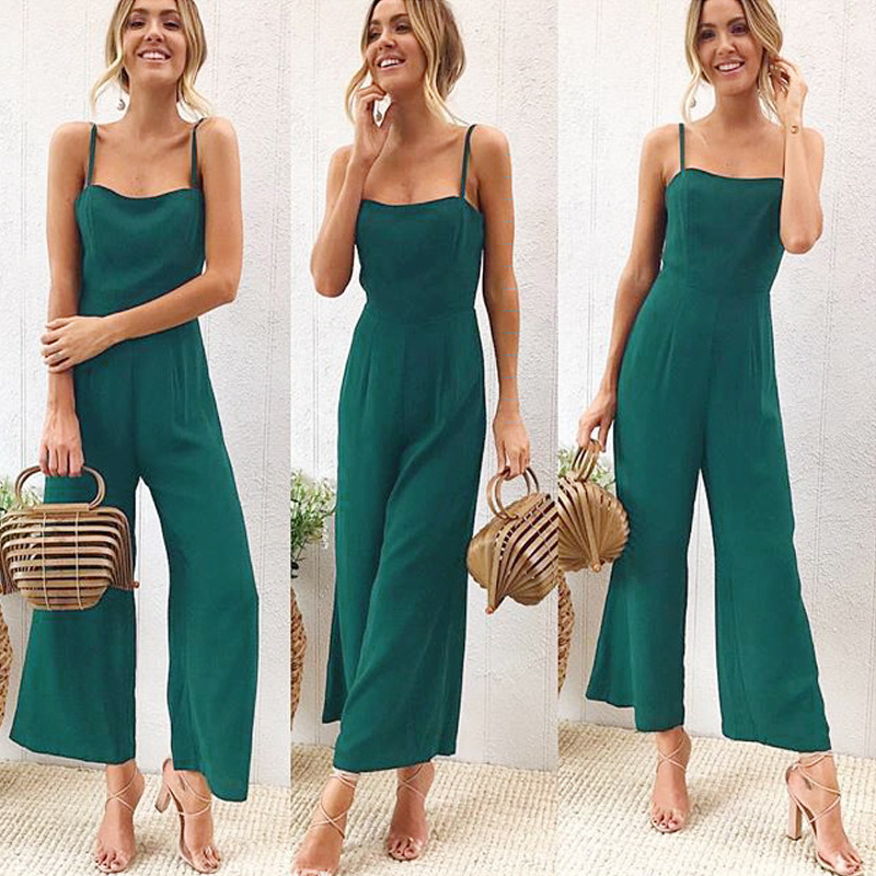 New 2019 Summer Wide Leg Jumpsuit Women Sexy Spaghetti Strap Square Neck Slim Waist Rompers Casual Beach Party Slim Overalls