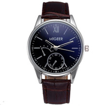 MIGEER MG-314 man watch brand Luxury Fashion Faux Leather Mens Analog Watch Wrist Watches wholesale free shipping X10