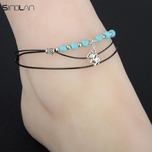New Ethnic Multi-storey Leather Rope Foot Jewelry Bohemian Vintage Elephant Anklet Boho Blue Resin Bracelets Ankles For Women