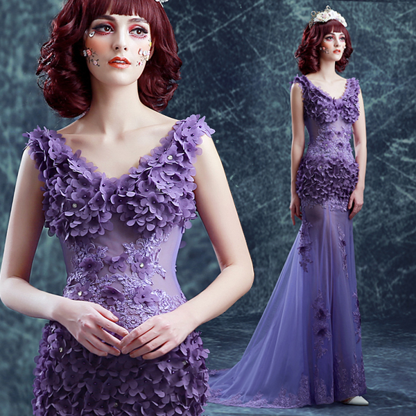 New light purple fairy floor length sexy lady girl women princess  bridesmaid banquet party ball dress gown 7ed1fec439