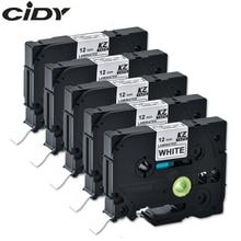 Cidy互換積層ツィー 231 tz231 tze231 12 ミリメートル白テープに黒tze 231 tz 231 ためbrother p touchプリンタtze 131