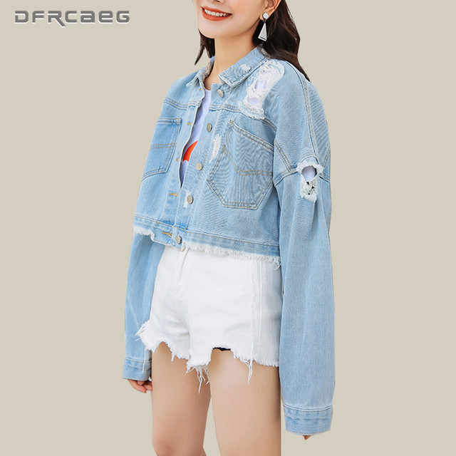 b8a4b3a899a Streetwear Womens Basic Denim Coat With Hole Fall 2018 Fashion BF Vintage Jeans  Jacket Outwear Casual Long Sleeve Top Clothing