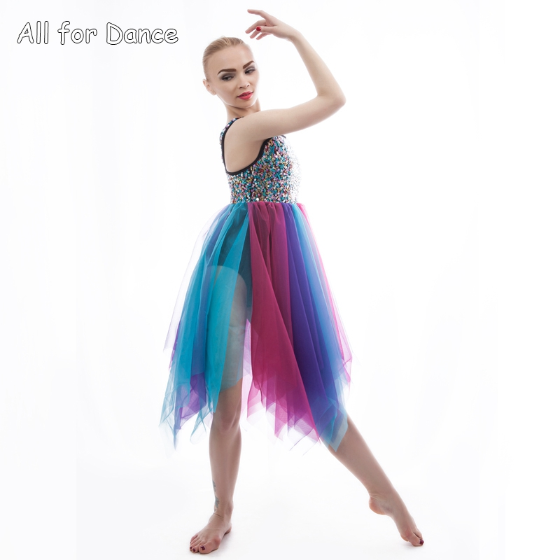 Sequin Lyrical Colorful Dress For Adult/Girl Ballet Stage Performance Contemporary Ballet Dance Dress Dance image