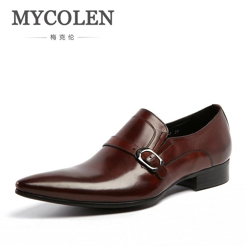 MYCOLEN Classic Genuine Leather Buckles Mens Dress Shoes For Formal Wedding Office Style Man Brown Black Monk Strap FootwearMYCOLEN Classic Genuine Leather Buckles Mens Dress Shoes For Formal Wedding Office Style Man Brown Black Monk Strap Footwear