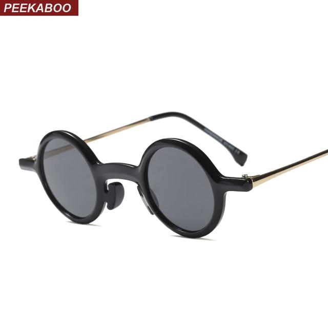 Peekaboo pequeno rodada óculos de sol das mulheres retro 2018 leopardo  preto metade do metal do 8ff112826a