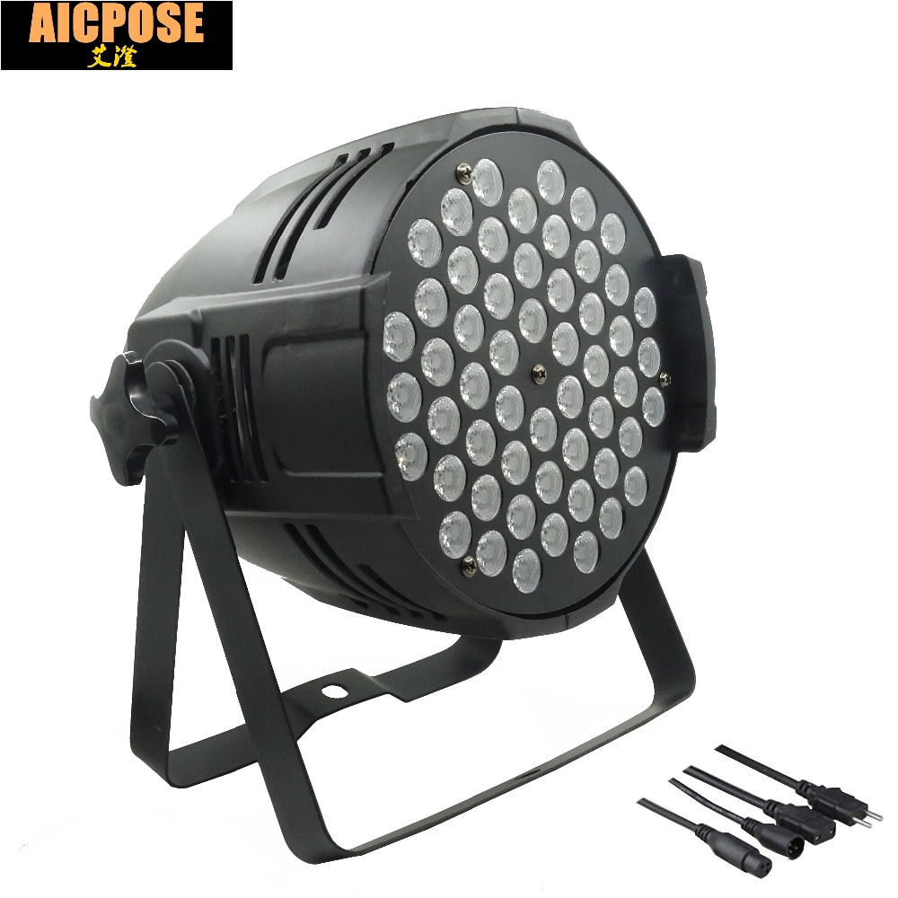 где купить 54x3w led Par lights RGBW flat par led dmx512 disco lights LED Stage Par Light Wash Dimming Strobe Lighting Effect по лучшей цене