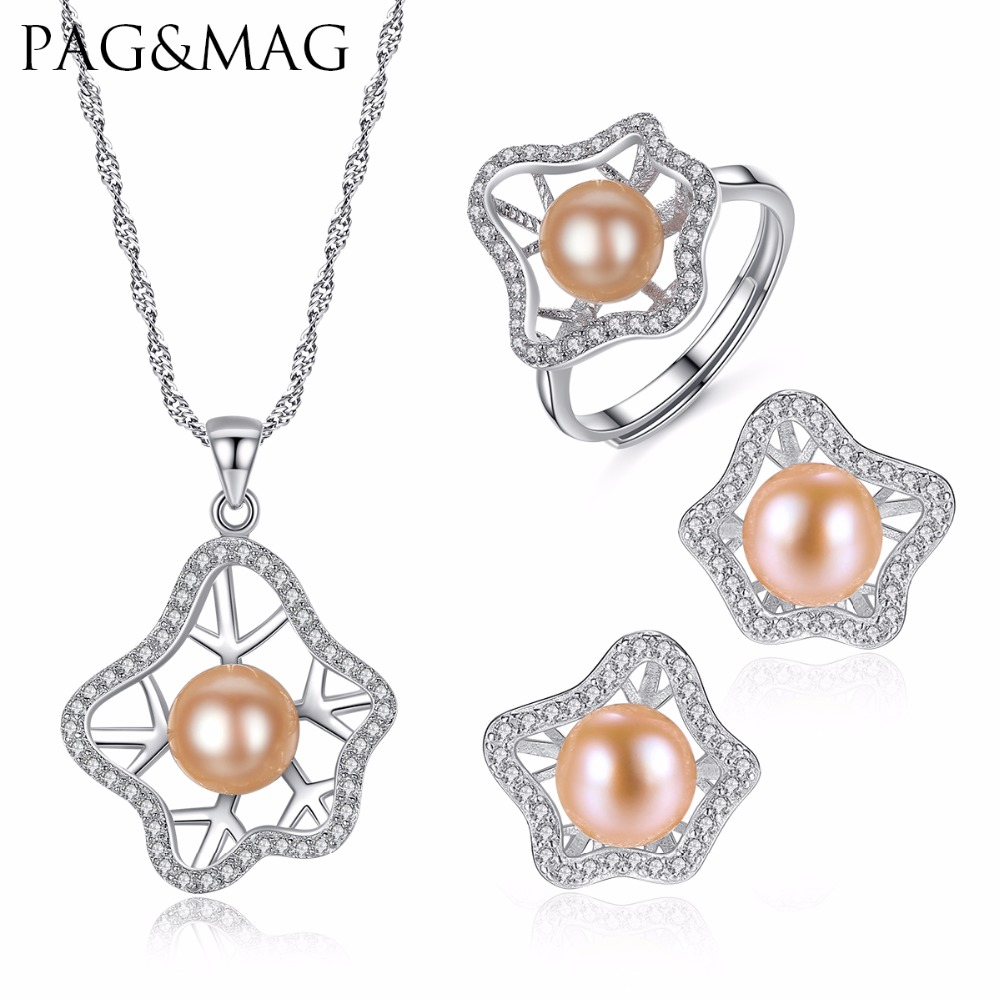 PAG&MAG Romantique Bohemia Style Set Pink Freshwater Pearl Necklace Earrings And Ring 925 Sterling Silver Jewelry Set For Women a suit of chic bohemia alloy tassel necklace and earrings for women