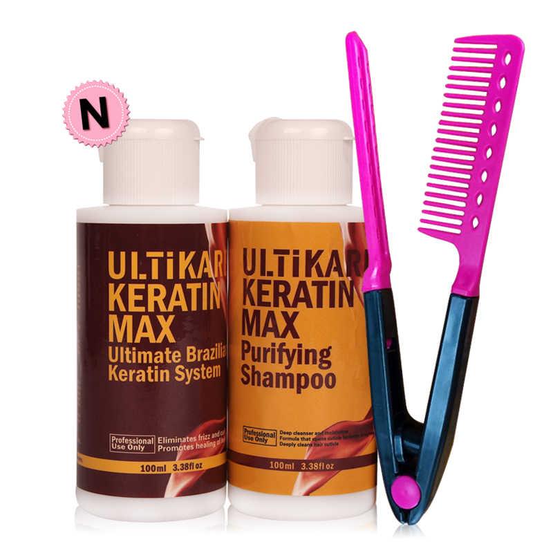 Keratina brasileña barata portátil, tratamiento de formalina 100ml + 5% ml, champú purificador DIY en casa para alisar el cabello + peine gratis