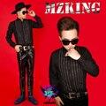 S-5XL! 2015 НОВЫЙ мужской тонкий Мужской DJ певец bigbang GD Bright Silver Бриллиантовый Черный рубашка плюс размер Костюм костюмы одежда
