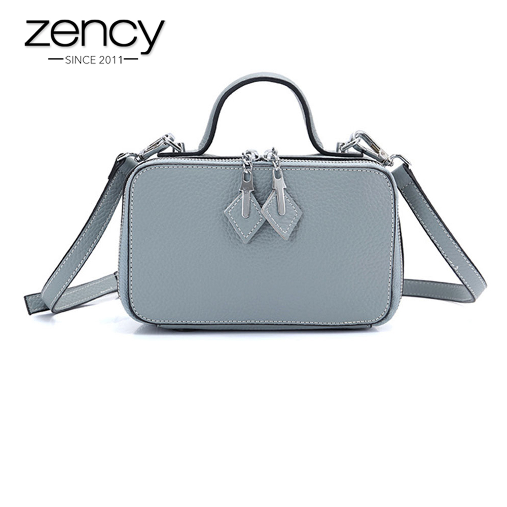 Zency Women Casual Tote 100% Real Cow Leather Black Handbag Fashion Small Flap Lady Crossbody Shoulder Purse High QualityZency Women Casual Tote 100% Real Cow Leather Black Handbag Fashion Small Flap Lady Crossbody Shoulder Purse High Quality
