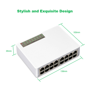 Ethernet 16 Ports Network Switch Fast Ethernet LAN RJ45 Vlan Smart Switcher 10/100Mbps Hub for Desktop PC with EU/US Adapter