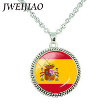 JWEIJIAO New 26 Countrys Flag Style Necklace Fashion Spain,Japan,Switzerland,Venezuela Flag Pendant Necklace For Women/Man FG87(China)