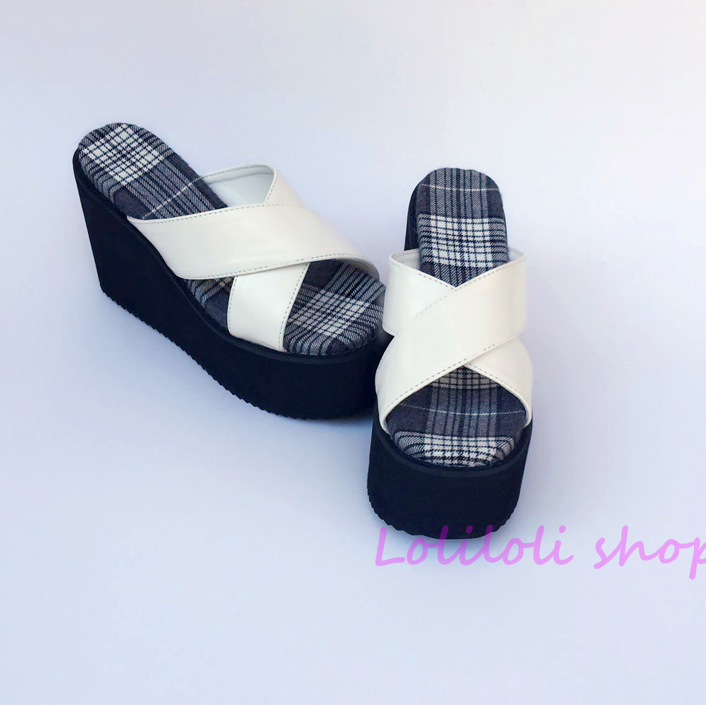 Antaina Japanese lolita shoes plus size / special custom Lolita Black Plaid bottom cross with white platform sandals 1242-1