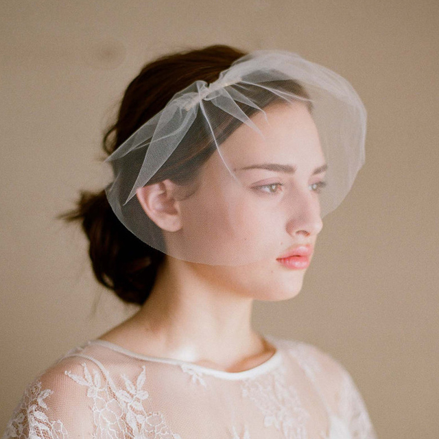 BacklakeGirls Short Simple Style Face Bride Veils Tulle Wedding Accessories Cheap In Stock Soft Yarn
