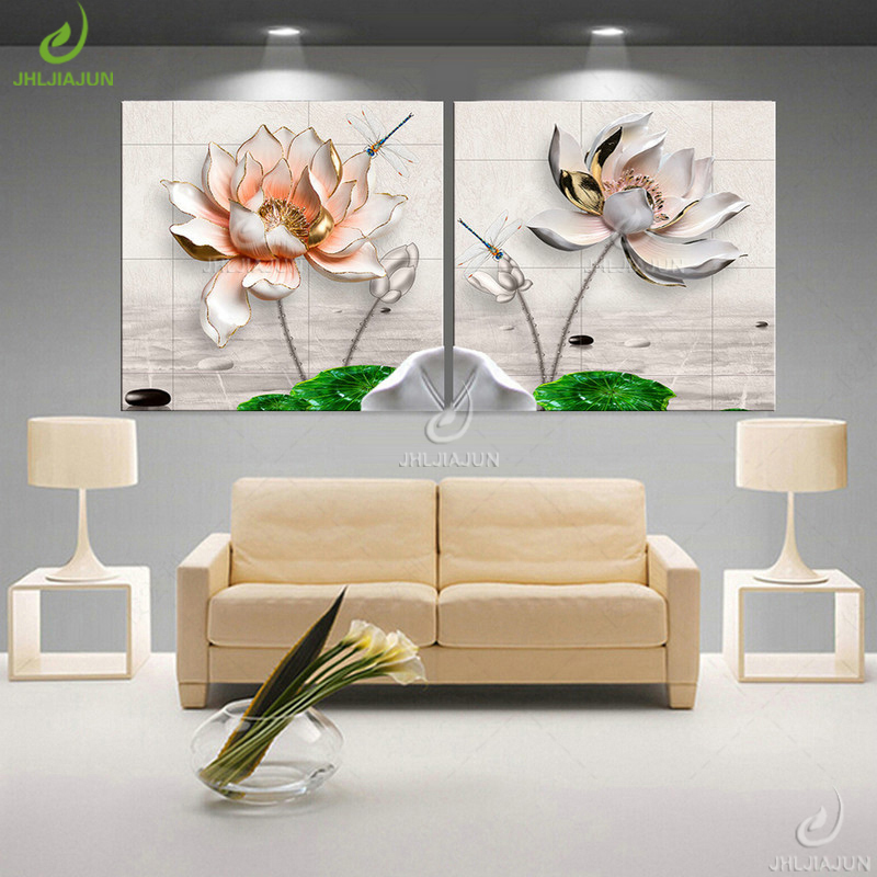 HTB1z8olgfImBKNjSZFlq6A43FXab Modular Pictures 3D Art Flower Lotus Poster Wall Art Modular Paintings For Kitchen Wall Pictures Living Room Canvas Painting