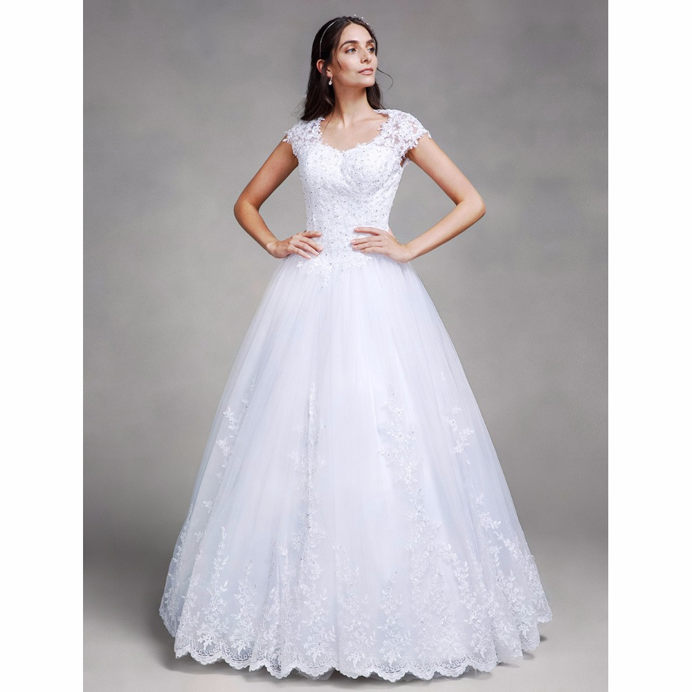 LAN TING BRIDE Ball Gown Wedding Dress Queen Anne Floor Length Satin Tulle Bridal Gown with Beading Appliques