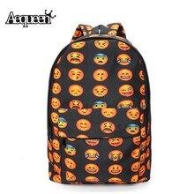 Aequeen Водонепроницаемый Оксфорд путешествия рюкзак 3D смайлик печати Рюкзаки Женские школьные сумки для девочек-подростков спортивные