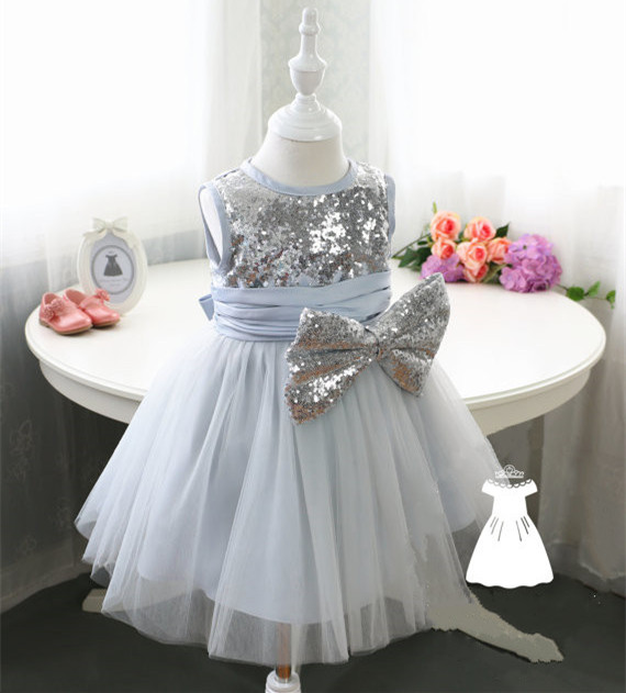 Shiny Sequined Baby Girls Dresses with Bow Infant Birthday Gown Custom Made Size myofunctional infant trainer phase ii hard oringal made in australia infant primary dentition trainer girls