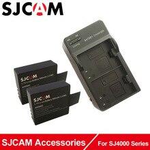 Carregador + 2 pcs bateria sjcam sj4000 acessórios dupla, para câmera esporte sj4000 sj5000 sjcam sj5000plus