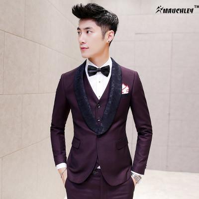 Qualidade Colarinho Jacquard Vestido de Smoking Mens Ternos de Baile Últimas Designs Brasão Pant 3 Peças (jaqueta + Colete + Calça) Terno do casamento para Os Homens