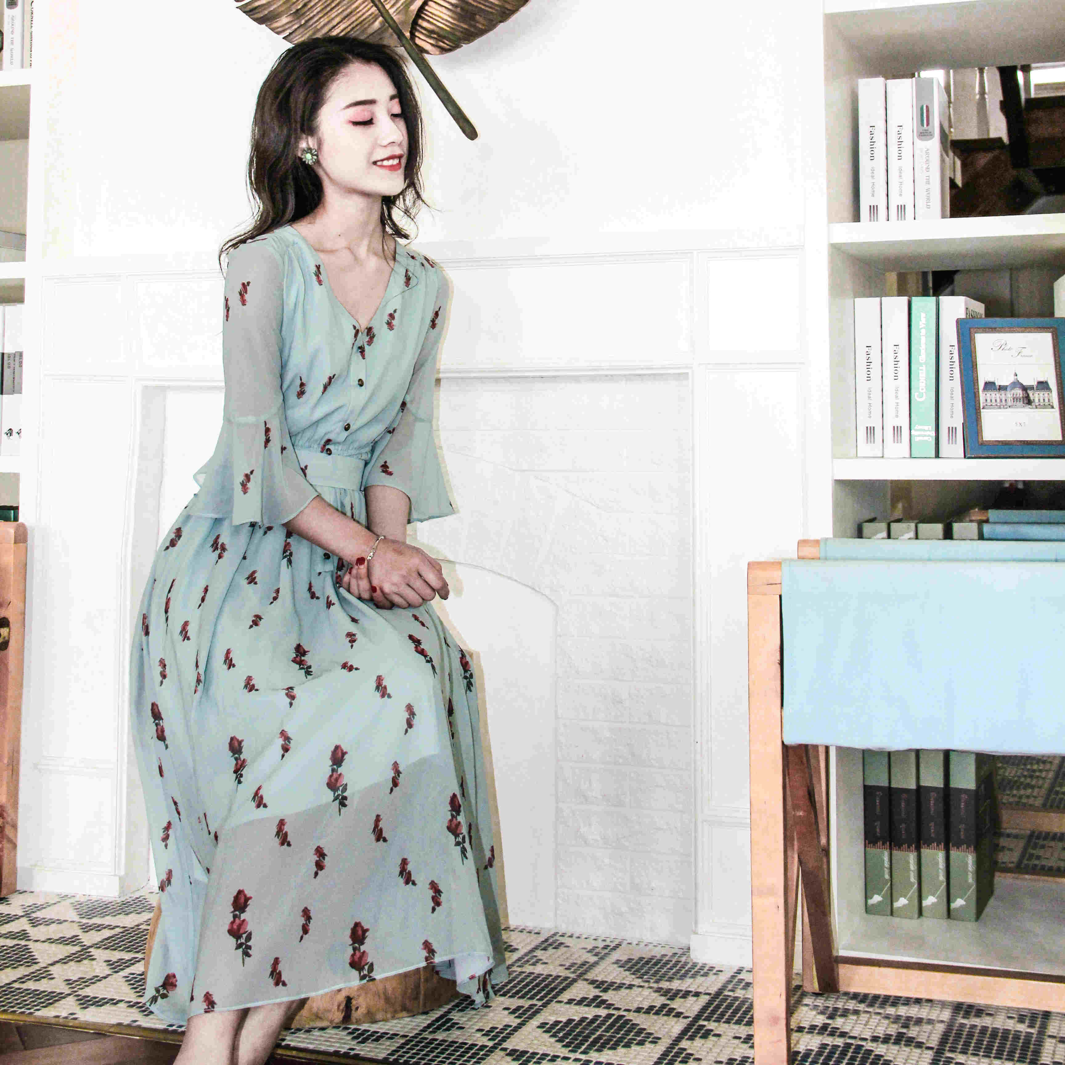 2017 spring new women dress korean vintage chiffon floral print dresses elastic waist female vestidos boho elegant shirt dress