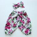 2016 Otoño bebé de la Manera pantalones de la flor unisex algodón harem pant + headband newborn baby boy girls clothing set