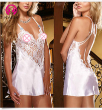 Womens Sexy Lace Lingerie Tassel Deep V Exposed Breast Hanging Neck Back Pack Multi-color Optional