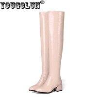 YOUGOLUN Kadın Uyluk Yüksek Çizmeler 2017 Yeni Kış Streç Patent Deri Siyah Pembe Orta Topuklar Ayakkabı # Y-165