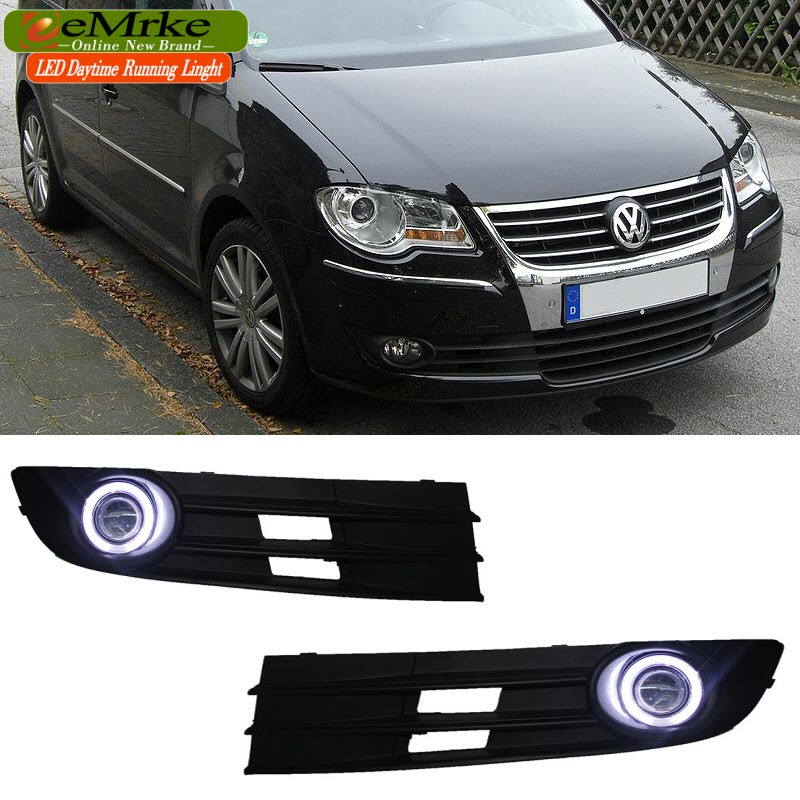 eeMrke For Volkswagen Touran 2007 to 2009 LED Angel Eye DRL Daytime Running Lights Halogen Bulbs H11 55W Fog Lamp Kits eemrke led angel eyes drl for suzuki aerio liana 2005 2006 2007 fog lights daytime running lights h3 55w halogen cut line lens