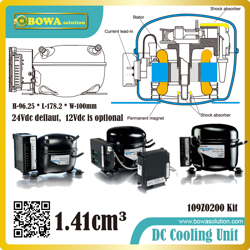 Variable speed drive compressor increases the system's COP perfect for 10-30 litre in car/ van/boat cabinets or portable boxes dc12v variable speed compressor suitable for truck cabin air conidtioner or boat air conditioner with controller