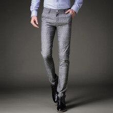 Модные мужские платья брюки летние официальные брюки приталенный костюм клетчатые брюки деловые повседневные размера плюс Свадебный брючный костюм мужские брюки