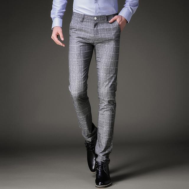 aa836668c1 Fashion Mens Dress Pants Summer Formal Pants Slim Fit Suit Plaid Pants Business  Casual Plus Size Wedding Pant Suits Men Trousers