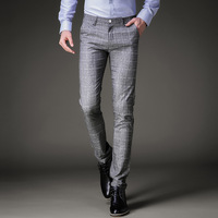 Fashion Mens Dress Pants Summer Formal Pants Slim Fit Suit Plaid Pants Business Casual Plus Size Wedding Pant Suits Men Trousers