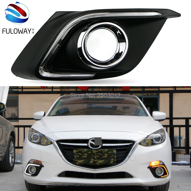 For Mazda 3 Axela 2014 car-styling relay 12V LED DRL daytime running lights with  dimmer and turn signal light car fog cover turn signal light and daytime running lights 12v waterproof led for mazda 3 axela 2014 2015