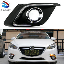 For Mazda 3 Axela 2014 car-styling relay 12V LED DRL daytime running lights with  dimmer and turn signal light car fog cover