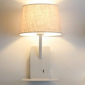 Image 4 - Kreatywny port ładowania usb półka tkaniny led kinkiet nowoczesny lampka nocna do sypialni w stylu art deco badanie lampka do czytania led kinkiety